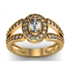 Genuine 14k Gold Ring with Genuine Diamond and White Topaz