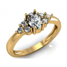 Solid 14k Gold Ring with Genuine Diamond and White Topaz