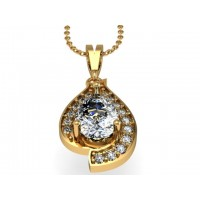 14k Gold Pendant with Genuine Diamond and White Topaz