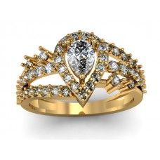 Solid 14k Gold Ring with Genuine Diamond and Center White Topaz