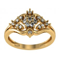 14k Gold Ring with Genuine Diamond and White Topaz